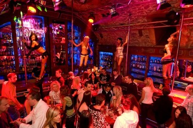 sexy women strip on club bar prague